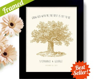 Unique Engagement Gift Personalized Wedding Gift for Couples Anniversary Present Just Married Bride and Groom Oak Tree Framed Art Print