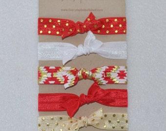 Aztec Red Hair Elastic Tie Set of 5
