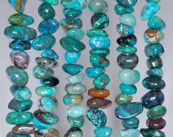 6-7mm Natural ChrysocollaGemstone AA Blue Green Pebble Chip Loose Beads 15 inch Full Strand (80000703-443)