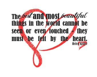 Helen Keller quote with red heart digital download