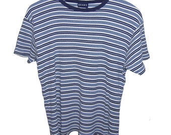 90s Navy Striped Cotton Tee