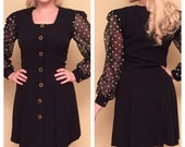ON SALE Vintage 1980s Black Polka Dot Dress with Sheer Long Sleeves by Diamonds Run by Wayne Diamond Short Cocktail Dress Size Medium Large