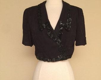 ON SALE Vintage Black Bolero Cropped Sequin Short Sleeve Rockabilly Pinup 80s Does 50s Bolero Size Medium