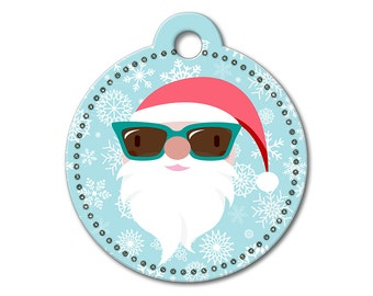 SALE Christmas Holiday Santa Claus Pet Tag - Dog Tags for Dogs - Custom Dog Tag for Pets, Personalized Cute Dog ID Tag, Sizes Small & Large