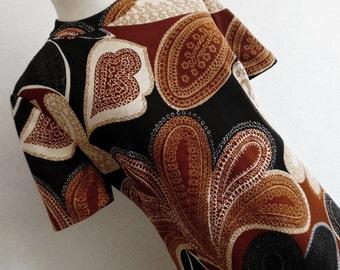 SALE:)) FRANCE . Paisley, The Gorgeous . Pure Wool Bold Print Midi Dress L Chocolate 60s Nice Quality