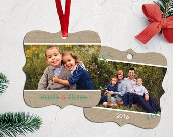Personalized Photo Christmas Tree Ornament - Double Sided with Ribbon - Kraft Paper