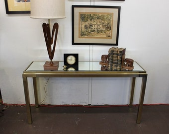 Mid Century Modern brass and mirror console table