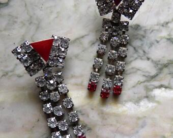 Rhinestone Dangle Pierced Retro Earrings