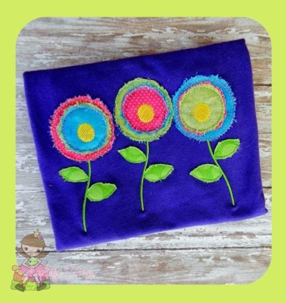 Flower trio Raggedy Applique design