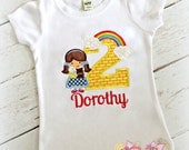 Dorothy Oz Birthday Shirt- Over the Rainbow- Wizard- Yellow Brick Road- Custom embroidery