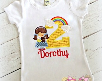 Dorothy Oz Birthday Shirt- Over the Rainbow- Wizard- Yellow Brick Road- Custom embroidery