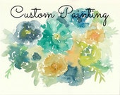 Custom Painting for Lisa Holloway, Abstract Flowers, 22x30, blue, teal, green, yellow