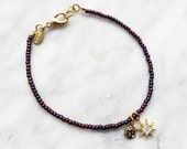 Gold star, purple bead bracelet - friendship bracelet,bead bracelets,positive energy bracelet,strength jewelry,courage bracelet,symbolic