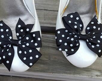Black Polka Dot Shoe Clips, Bows, Bridal Shoe Clips,Grosgrain Bow Shoe Clips,  Shoe Clips Shoes Bows, Shoe Clips for Wedding Shoes,