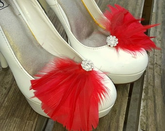 Bridal Shoe Clips,  Red Feather Shoe Clips, Feather Shoe Clips, Wedding Shoe Clips, Rhinestone Shoe Clips, Shoe Clips for Wedding Shoes