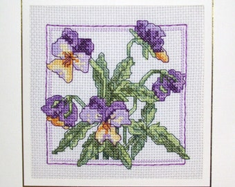 large completed cross stitch card Pansies, Pansy flowers handmade