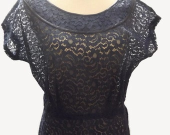 1940s Navy Indigo Blue Lace Dress See Through Pin Up BombShell