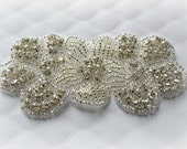 "Rhinestone Flower Applique. Rhinestone Beaded Applique. Sparkly Bridal Applique. 4"" x 2"""