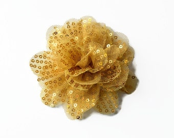 """Sequin and Tulle Flowers. 3.5"""" GOLD Sequin Flowers. QTY: 1 Flower. ~~ Noelly Collection."""