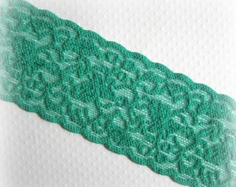 """ON SALE Green Stretch Lace Trim. 2.5"""" Wide. Christmas Green Wide Lace Elastic. 2 Yards"""