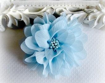 ON SALE Light Blue Chiffon Flower. Pale Blue Chiffon Flower.  1 pc. ISLA Collection. A3-Sf-002E