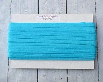 """1/4"""" Narrow Turquoise Elastic. Super Soft. 25 Yards."""