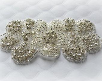 "Rhinestone Flower Applique. Rhinestone Beaded Applique. Sparkly Bridal Applique. 4"" x 2"""