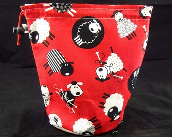 R Project bag 295 Red Knitting Sheep