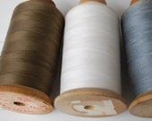 3 Vintage Spools of Thread-Intrinsic four cord cotton thread wood spools