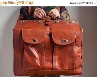 ON SALE Vintage Cognac Brown Genuine Camel Leather Doctor Bag Large Weekend Travel Bag