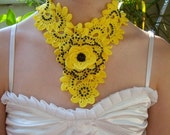 ON SALE - 10% OFF Crochet Necklace...Yellow Rose Jewelry...2 Necklaces in 1...Photo Prop...