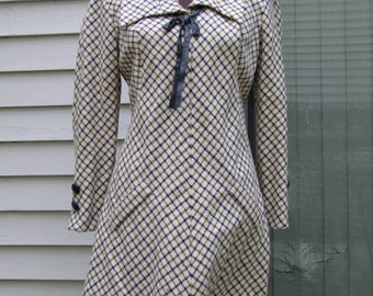 Vintage 1970s Wool Mini Dress w Navy and Olive design and navy leather trim