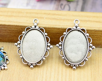Cabochon Base Settings -15pcs Antique Silver Oval Bezel Tray Charm Pendants 18x25mm AA201-1