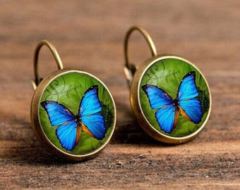 1 pair of 16mm Handmade Antique Bronze Butterfly Glass Cabochon French Earwire Earrings