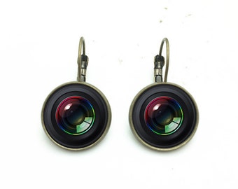 1 pair of 16mm Handmade Photo Glass Cabochon French Earwire Earrings Camera