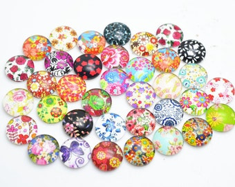 30pcs Mixed 12mm Round Handmade Photo Glass Cabochon - Flower ( K515 )