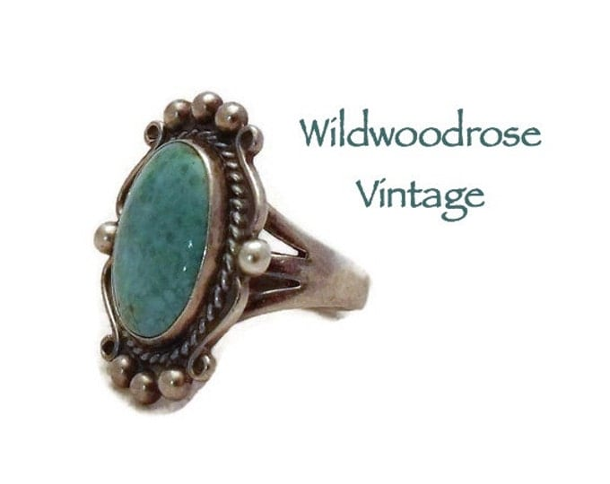 Vintage Turquoise and Sterling Silver Ring - Navajo Native American Sterling Jewelry - Boho Turquoise Silver Statement Ring - Ladies Size 6