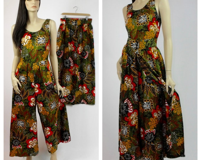 1970's Hostess Jumpsuit with Over-Skirt // Beach Party Jumpsuit // Vintage Deadstock // The Party // 70's Pantsuit and Skirt Set // Size 8
