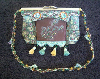 Vintage Asian Style Mary Frances Hand Bag Purse Beaded Tassels Peacock Feathers Abalone Shell Accents