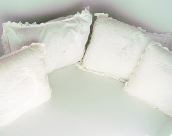 Set of FOUR Battenburg Lace White Decorative Throw Pillows Cottage Shabby Chic Sqaure Rectangle