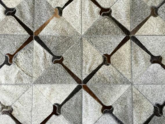 Grey Gray Custom Cowhide Patchwork Rug Cow Hide By