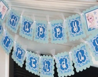 Happy Birthday Winter Snowflake Royal Blue Frozen Light Blue ONEderland Banner - Light Blue and Royal Blue -  Party Packs Available