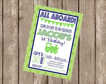 """Customized 5x7"""" Printable OR Printed Invitation WITH Envelopes - Navy Blue & Lime Green Vintage Choo Choo Train - Or Match ANY theme in Shop"""
