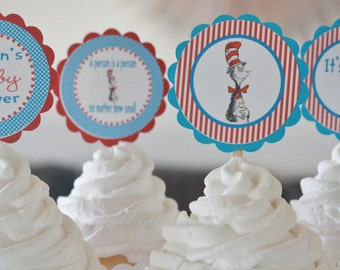 12 - Doctor Cat Theme Baby Shower Cupcake or Cake Toppers - Ask About our Party Pack Sale - Free Ship Over 65.00