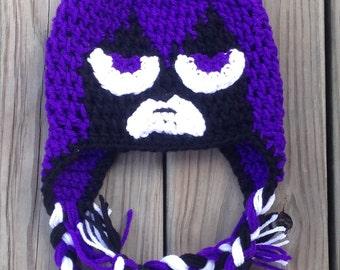 Crochet Teen Titans Raven hat, newborn-adult sizes