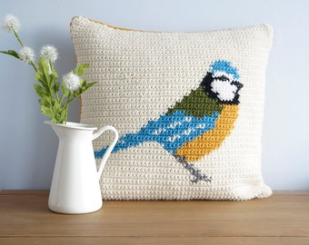 Patterns for Crochet, Bird Pillow, Drops Napal, Spring Decorations, Farm House, Blue Tit, Double Stitch, Aran Weight, Worsted Yarn