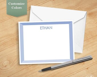 Personalized Stationery, Personalized Note Card Set, Personalized Stationary, Custom Color - Four Tones