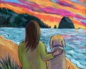 Sunset with my Dog - 8x8 Colorful Modern ORIGINAL Painting by Carrie Tasman