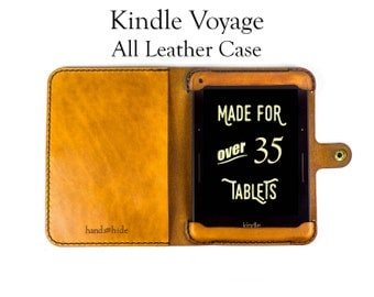 Kindle Voyage Case, All Leather - No Plastic - Free Inscription