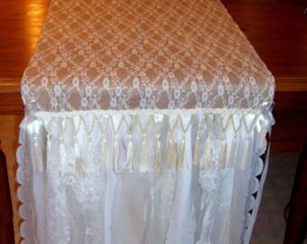 Sale..Lace, Burlap Runner, Wedding, Shower decor,  Shabby Chic, Table Runner, Farmhouse, Table Linen,